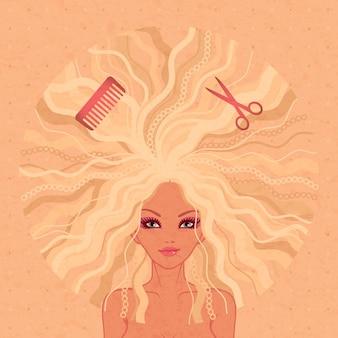Donna con l'illustrazione lunga dei capelli biondi