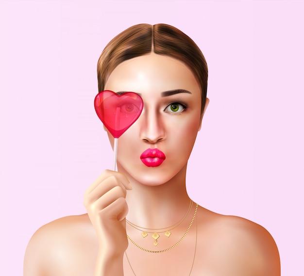 Donna con la composizione realistica della caramella con la vista del ritratto di giovane donna e la lecca-lecca della caramella a forma di cuore