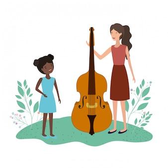 Donna con la figlia e violino avatar personaggio