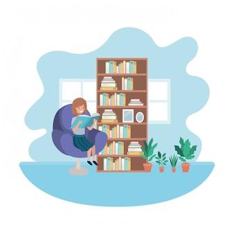 Donna con libro nel personaggio avatar soggiorno