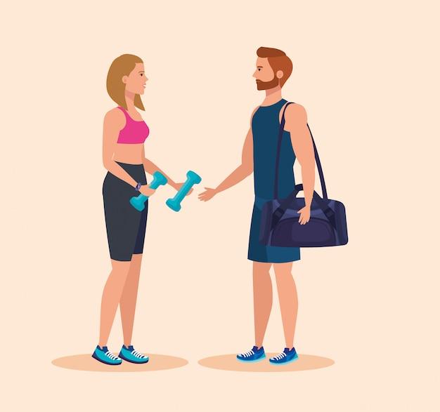 Donna con manubri e borsa per esercitarsi