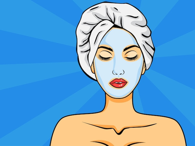 Donna con maschera facciale in stile pop art