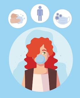 Donna con maschera medica e set di icone