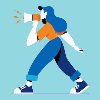 Donna con megafono urlando design