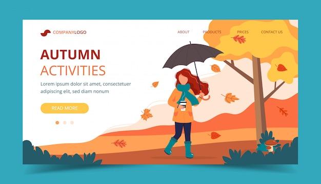 Donna con ombrello e caffè in autunno. modello di pagina di destinazione.