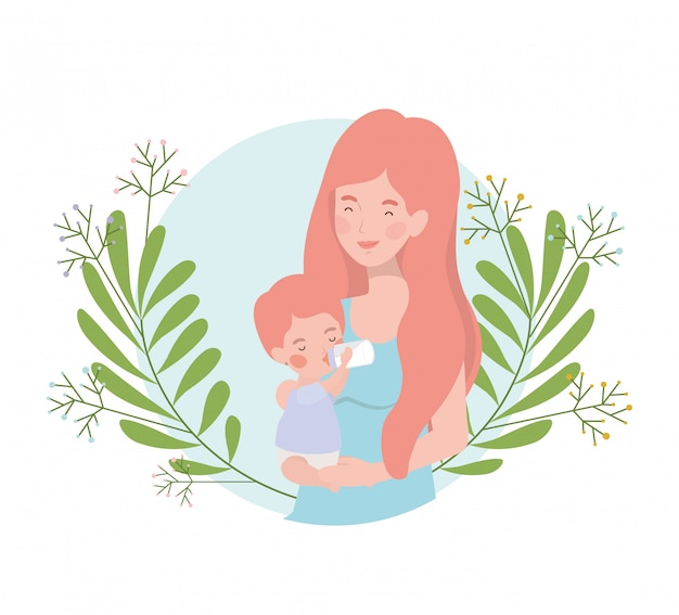 Donna con personaggio avatar bambino