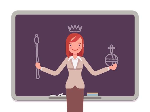 Donna con regina disegnata