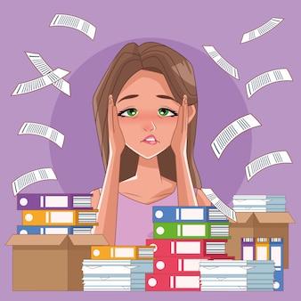 Donna con sintomi di stress imsomnia e documenti pila