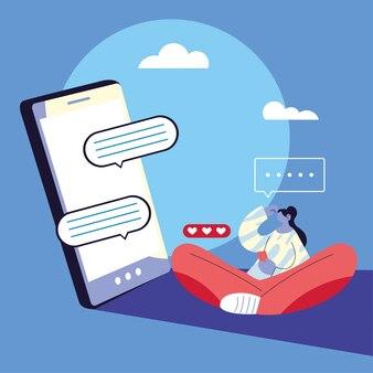 Donna con smartphone in chat, bolla di chat