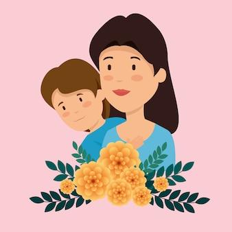Donna con suo figlio e piante di fiori con foglie
