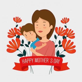 Donna con suo figlio e piante di fiori con il nastro