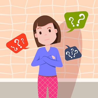 Donna confusa pensando punto interrogativo bolle personaggio femminile modello per la progettazione e animazione piatta