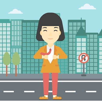 Donna d'affari aprendo la giacca come supereroe.