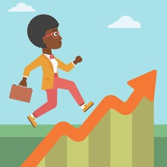 Donna d'affari che corre lungo il grafico di crescita.