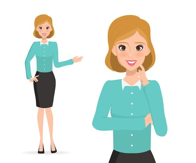 Donna d'affari che presenta carattere. uomini d'affari nel lavoro.