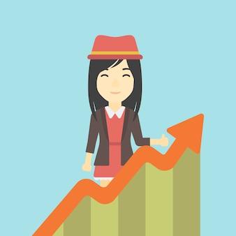 Donna d'affari con grafico in crescita.