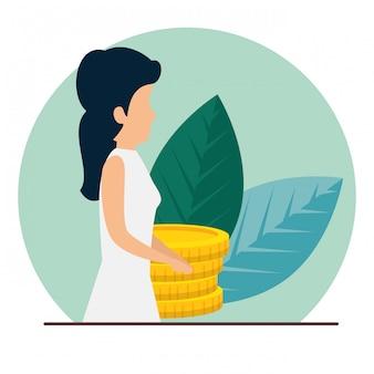 Donna d'affari con monete e foglie