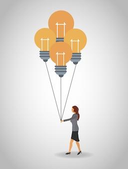 Donna d'affari con palloncini lampadina