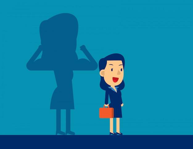 Donna d'affari con una forza carriera ombra