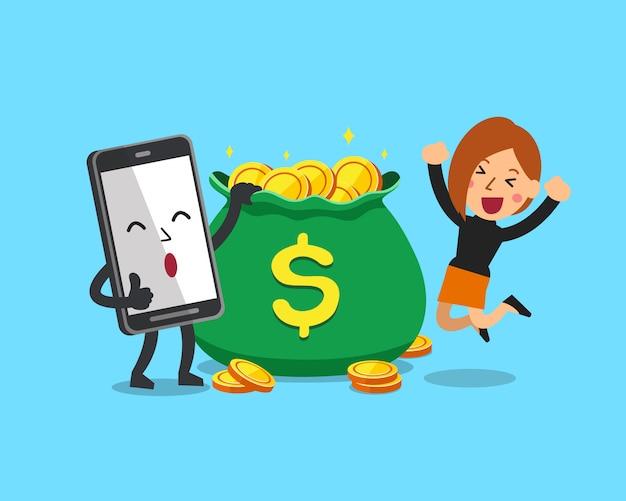 Donna d'affari e smartphone con borsa dei soldi