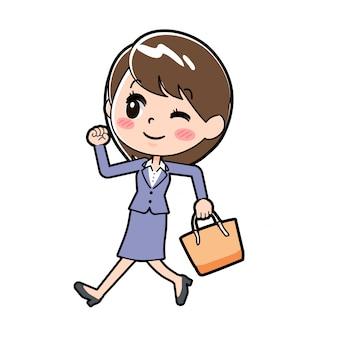 Donna d'affari fuori linea che cammina b