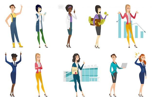 Donna d'affari, hostess, set di professione medico
