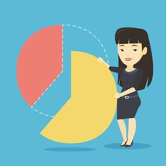 Donna d'affari prendendo la sua quota dei profitti.