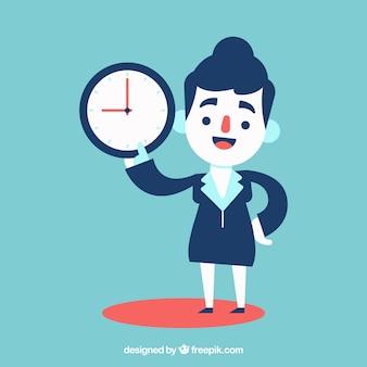 Donna d'affari puntuale