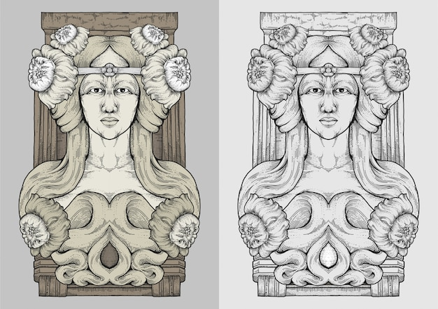 Donna dai capelli lunghi e fiori con disegno a mano incisione