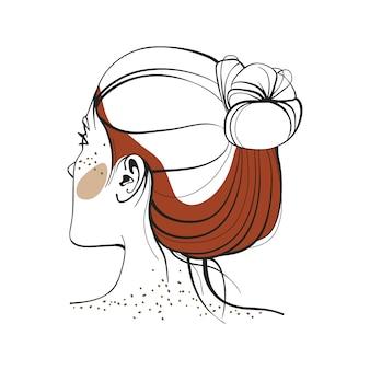 Donna dai capelli rossi con le lentiggini. vista dal retro. illustrazione di moda
