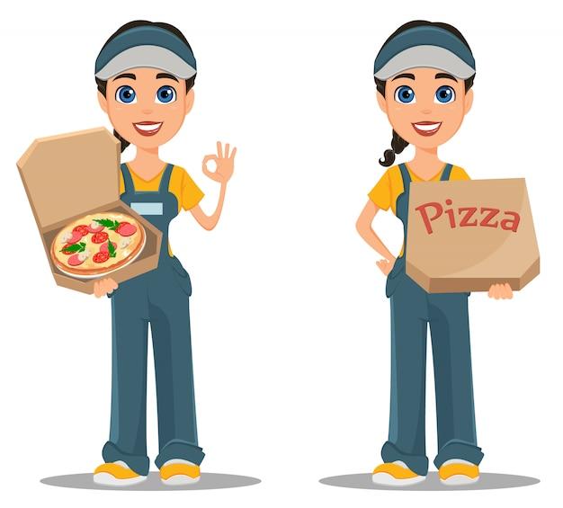Donna del corriere che trasporta pizza