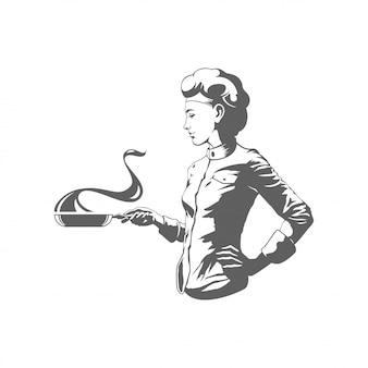 Donna del cuoco unico che cucina l'illustrazione di vettore della siluetta isolata su fondo bianco.