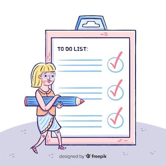 Donna del fumetto che controlla la priorità bassa gigante della lista di controllo