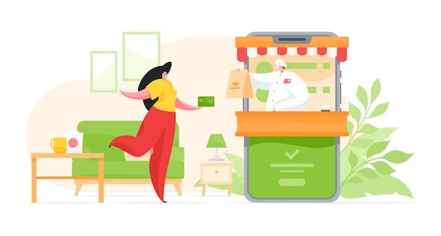 Donna del fumetto che riceve la consegna di cibo tramite app mobile