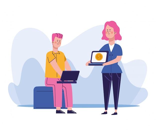 Donna del fumetto che tiene un computer portatile e un uomo seduti e utilizzando un computer portatile