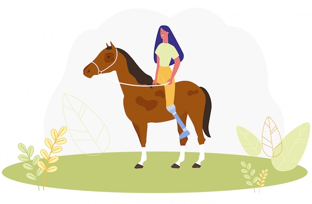 Donna del fumetto con cavallo da equitazione della gamba protesica
