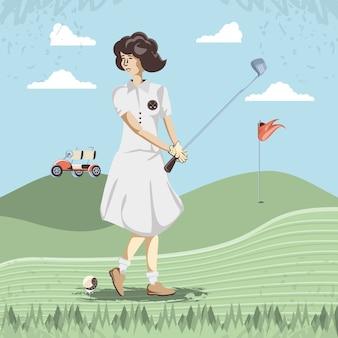 Donna del giocatore di golf nel corso