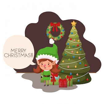 Donna dell'elfo con l'albero di natale e regali