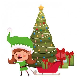 Donna dell'elfo con la renna e l'albero di natale