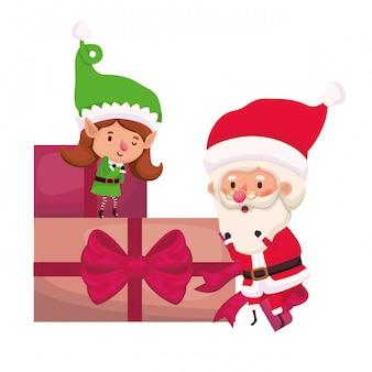 Donna dell'elfo e del babbo natale con i contenitori di regali