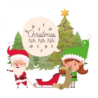 Donna dell'elfo e del babbo natale con l'albero di natale