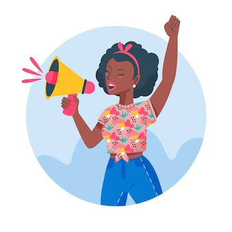 Donna dell'illustrazione che grida con un megafono
