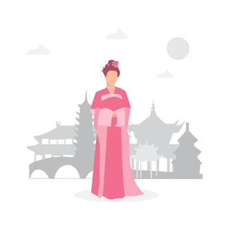 Donna della cina in costumi nazionali con architettura, pagoda, simboli tradizionali culturali cinesi.