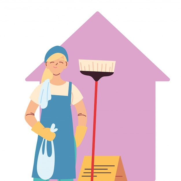 Donna delle pulizie facendo lavori di pulizia della casa