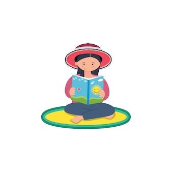 Donna design piatto sta leggendo un libro