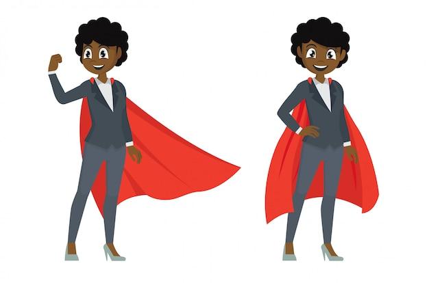 Donna di affari africana nelle pose di azione. supereroe femmina.