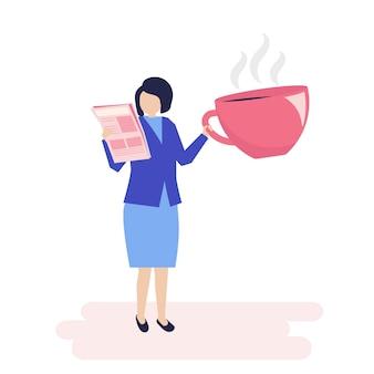 Donna di affari che beve caffè e che legge un giornale