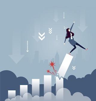 Donna di affari che cade dal diagramma di tasso di crescita rotto - concetto di affari