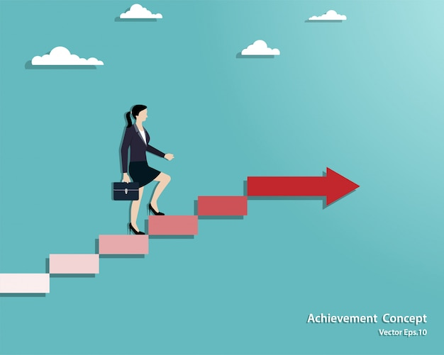 Donna di affari che cammina sulla scala fino al successo