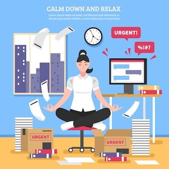 Donna di affari che fa l'illustrazione piana di meditazione